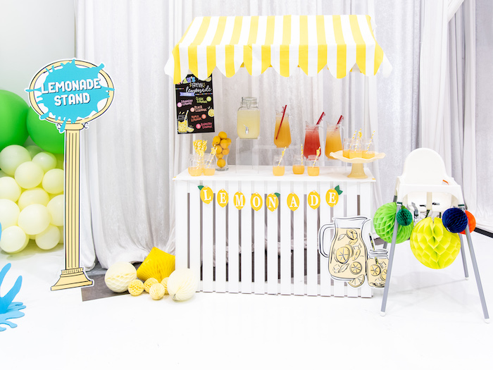 Lemonade Stand + Beverage Bar from a Fun House Birthday Party on Kara's Party Ideas | KarasPartyIdeas.com (24)