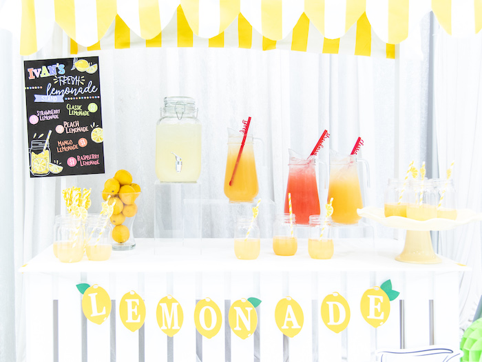 Lemonade Stand + Beverage Bar from a Fun House Birthday Party on Kara's Party Ideas | KarasPartyIdeas.com (23)