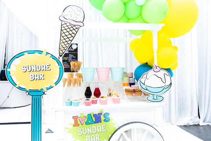 Sundae Bar from a Fun House Birthday Party on Kara's Party Ideas | KarasPartyIdeas.com (22)