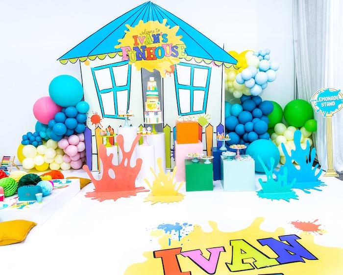 Fun House Paint Splatter Dessert Spread from a Fun House Birthday Party on Kara's Party Ideas | KarasPartyIdeas.com (21)