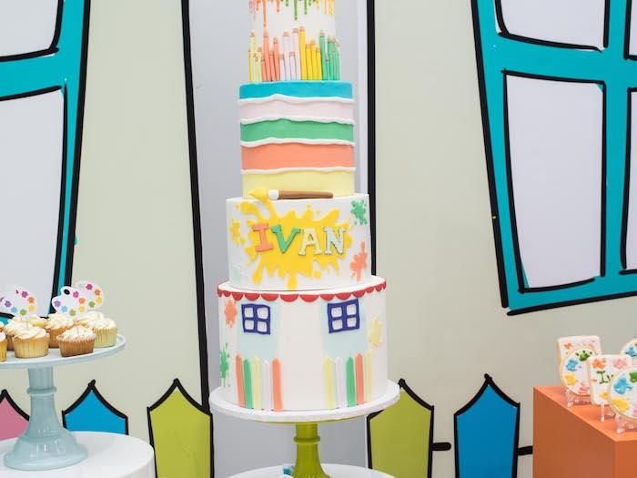 Paint Themed Cake from a Fun House Birthday Party on Kara's Party Ideas | KarasPartyIdeas.com (18)