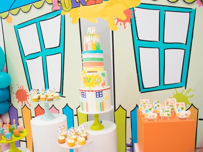 Paint Themed Cake from a Fun House Birthday Party on Kara's Party Ideas | KarasPartyIdeas.com (17)
