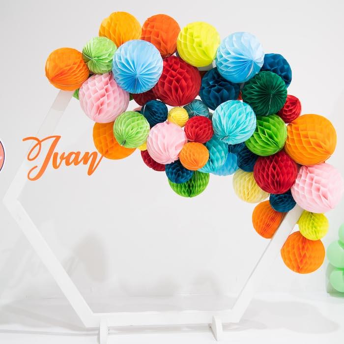 Giant Tissue Ball Hexagon from a Fun House Birthday Party on Kara's Party Ideas | KarasPartyIdeas.com (10)
