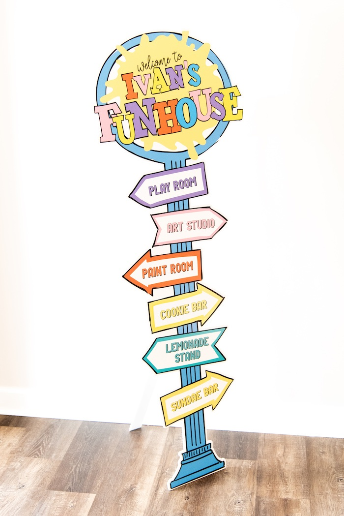 Directional Sign from a Fun House Birthday Party on Kara's Party Ideas | KarasPartyIdeas.com (5)