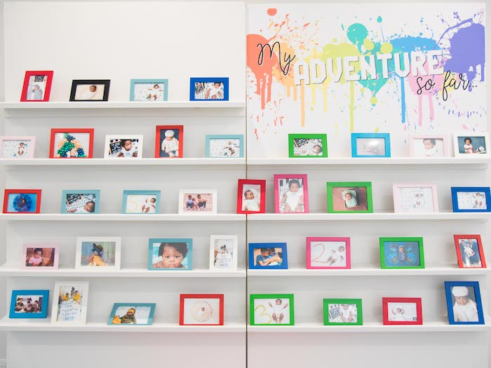Rainbow Paint Splatter Highlight Photo Wall from a Fun House Birthday Party on Kara's Party Ideas | KarasPartyIdeas.com (4)