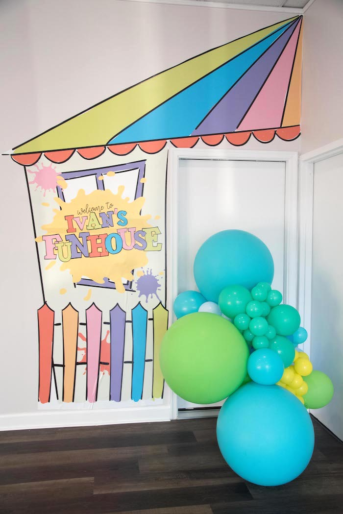 Welcome Decal from a Fun House Birthday Party on Kara's Party Ideas | KarasPartyIdeas.com (2)