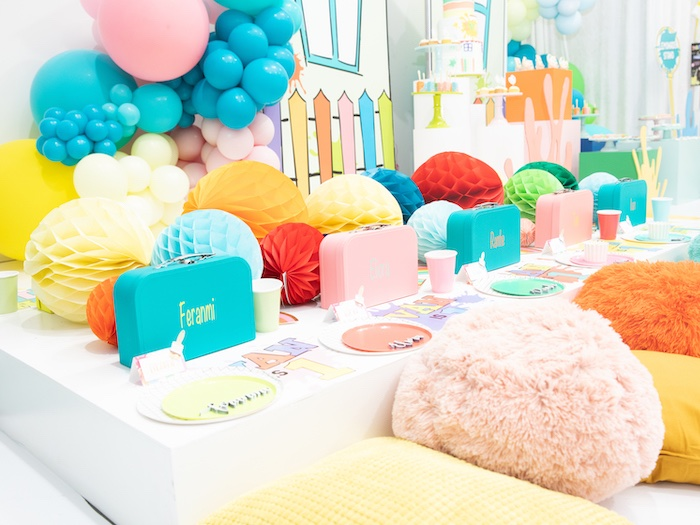 Colorful Pillow-seated Guest Table from a Fun House Birthday Party on Kara's Party Ideas | KarasPartyIdeas.com (36)