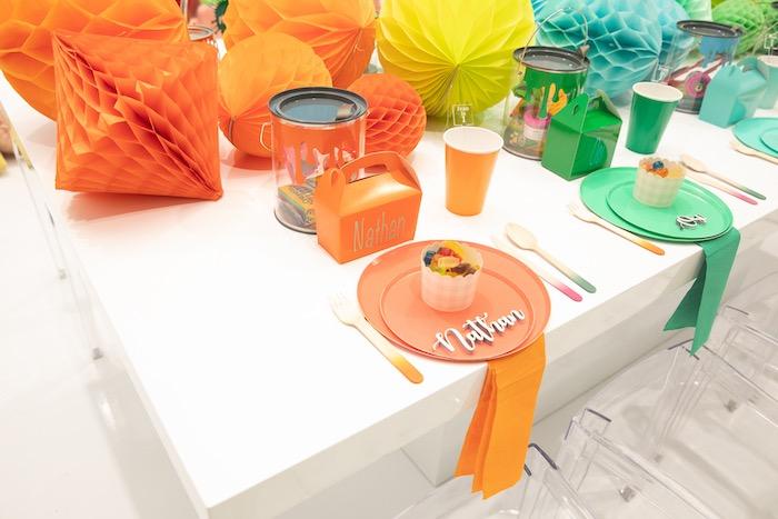 Rainbow Guest Table from a Fun House Birthday Party on Kara's Party Ideas | KarasPartyIdeas.com (34)