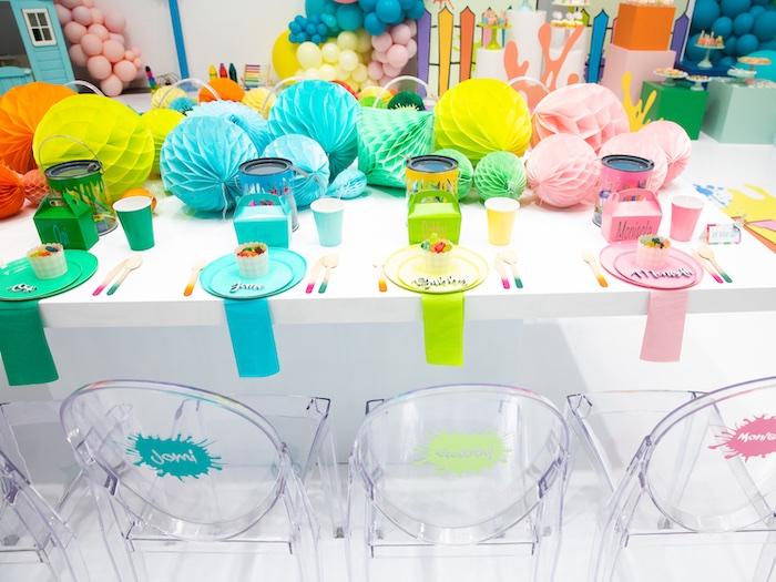 Rainbow Guest Table from a Fun House Birthday Party on Kara's Party Ideas | KarasPartyIdeas.com (33)