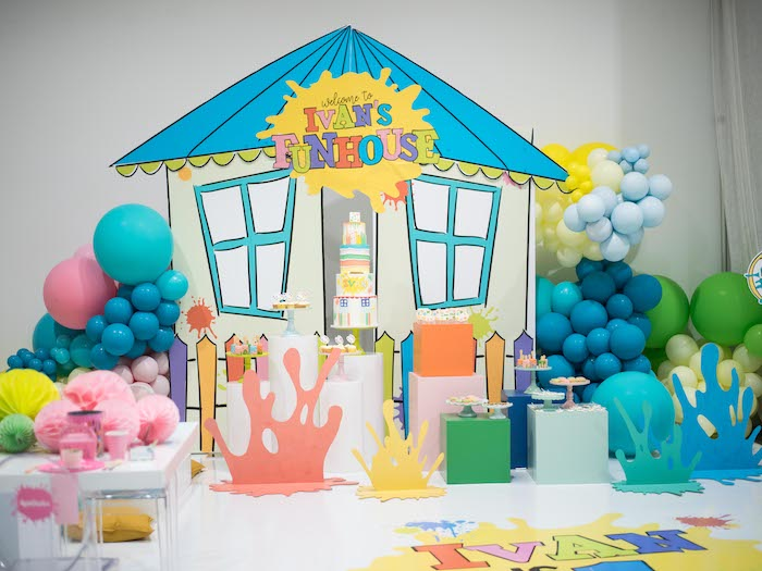 Fun House Paint Splatter Dessert Spread from a Fun House Birthday Party on Kara's Party Ideas | KarasPartyIdeas.com (32)