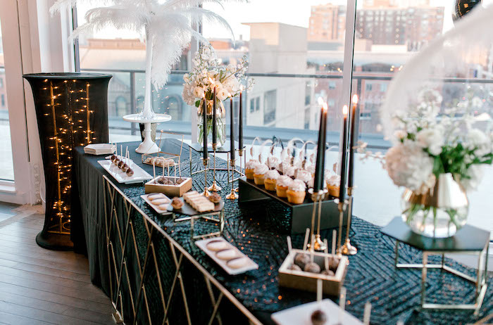 Gatsby-inspired Dessert Table from a Gatsby Inspired 40th Birthday Party on Kara's Party Ideas | KarasPartyIdeas.com (7)