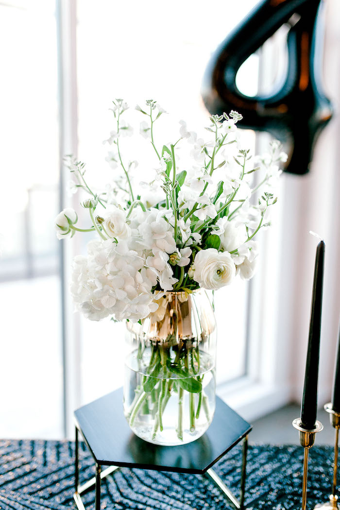 White Floral Arrangement from a Gatsby Inspired 40th Birthday Party on Kara's Party Ideas | KarasPartyIdeas.com (20)