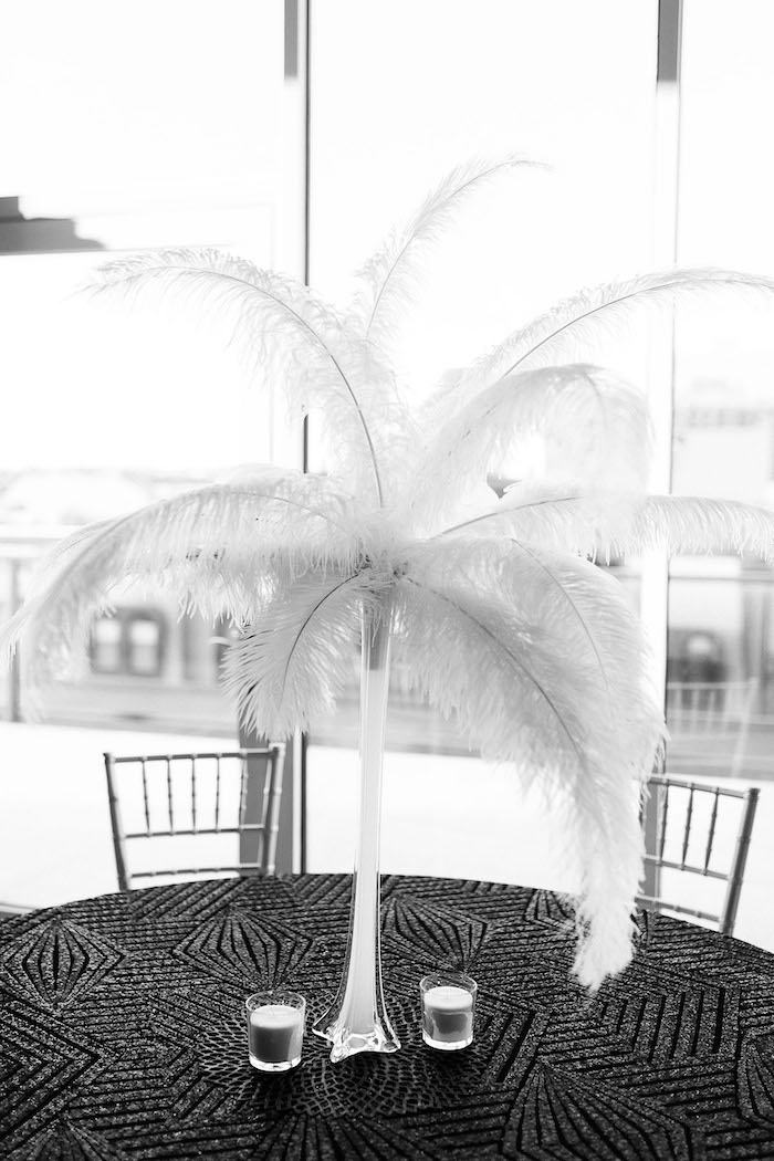 Ostrich Feather Centerpiece from a Gatsby Inspired 40th Birthday Party on Kara's Party Ideas | KarasPartyIdeas.com (19)