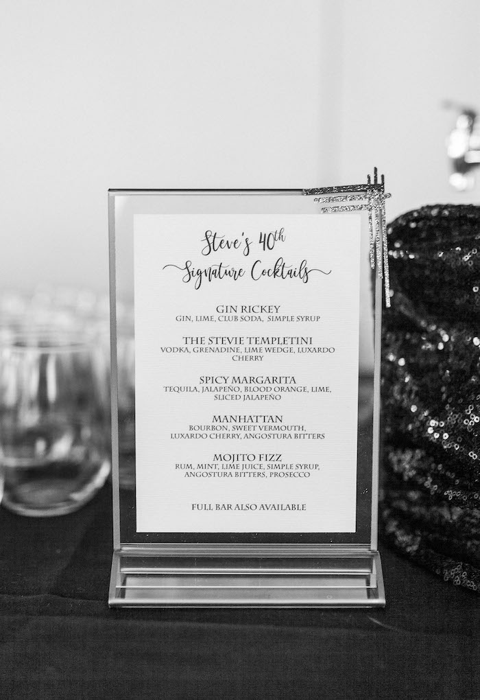 Monochromatic Cocktail Menu from a Gatsby Inspired 40th Birthday Party on Kara's Party Ideas | KarasPartyIdeas.com (18)
