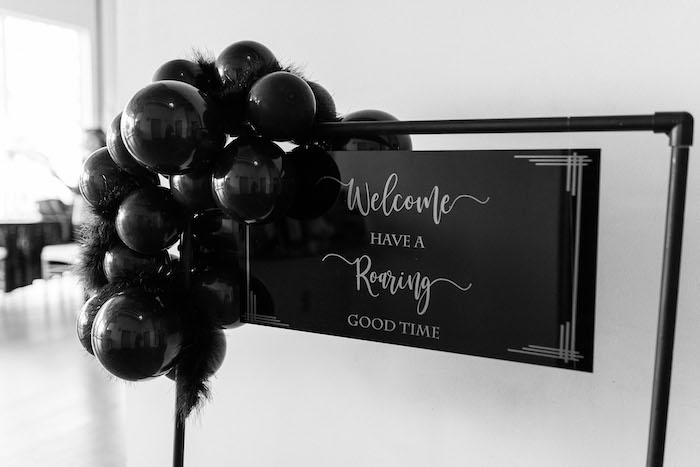 Black Welcome Sign from a Gatsby Inspired 40th Birthday Party on Kara's Party Ideas | KarasPartyIdeas.com (16)