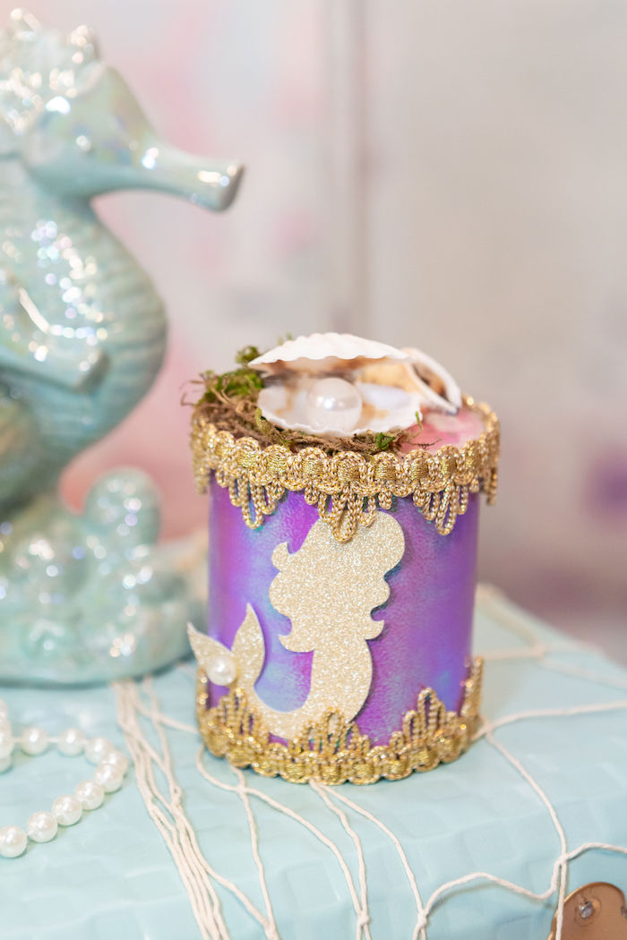 Mermaid Can from a Glamorous Mermaid Birthday Party on Kara's Party Ideas | KarasPartyIdeas.com (5)