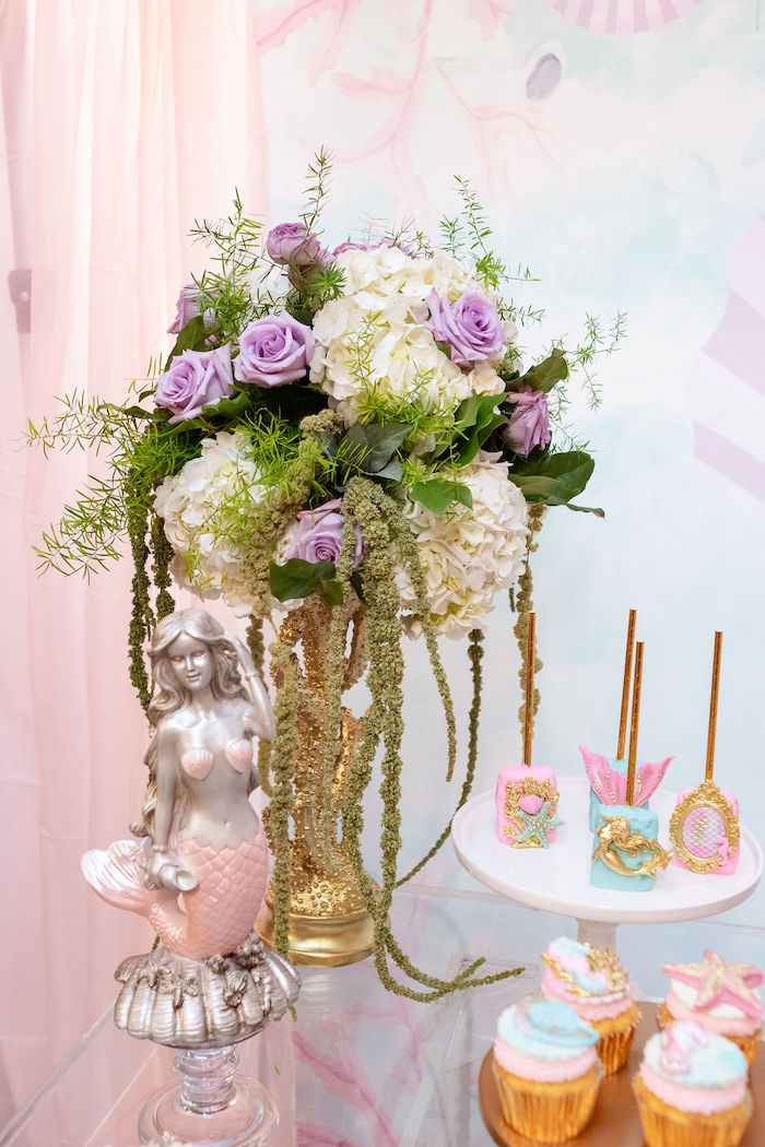 Under the Sea Floral Arrangement from a Glamorous Mermaid Birthday Party on Kara's Party Ideas | KarasPartyIdeas.com (4)