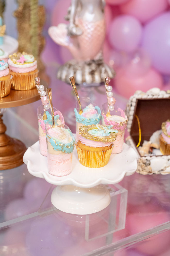 Under the Sea Dessert Cups + Cupcake from a Glamorous Mermaid Birthday Party on Kara's Party Ideas | KarasPartyIdeas.com (3)