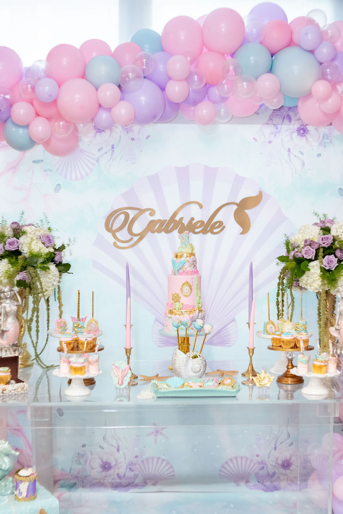 Mermaid Themed Dessert Table from a Glamorous Mermaid Birthday Party on Kara's Party Ideas | KarasPartyIdeas.com (2)