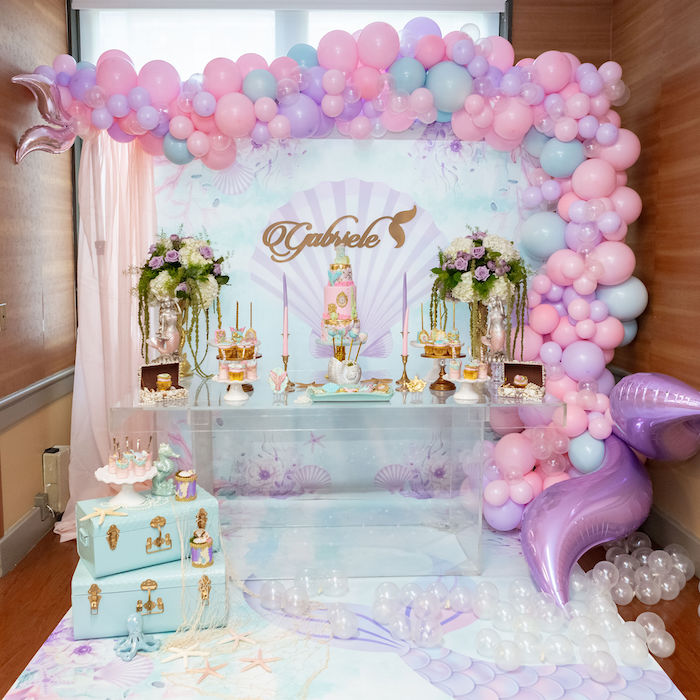Mermaid Themed Dessert Table from a Glamorous Mermaid Birthday Party on Kara's Party Ideas | KarasPartyIdeas.com (14)