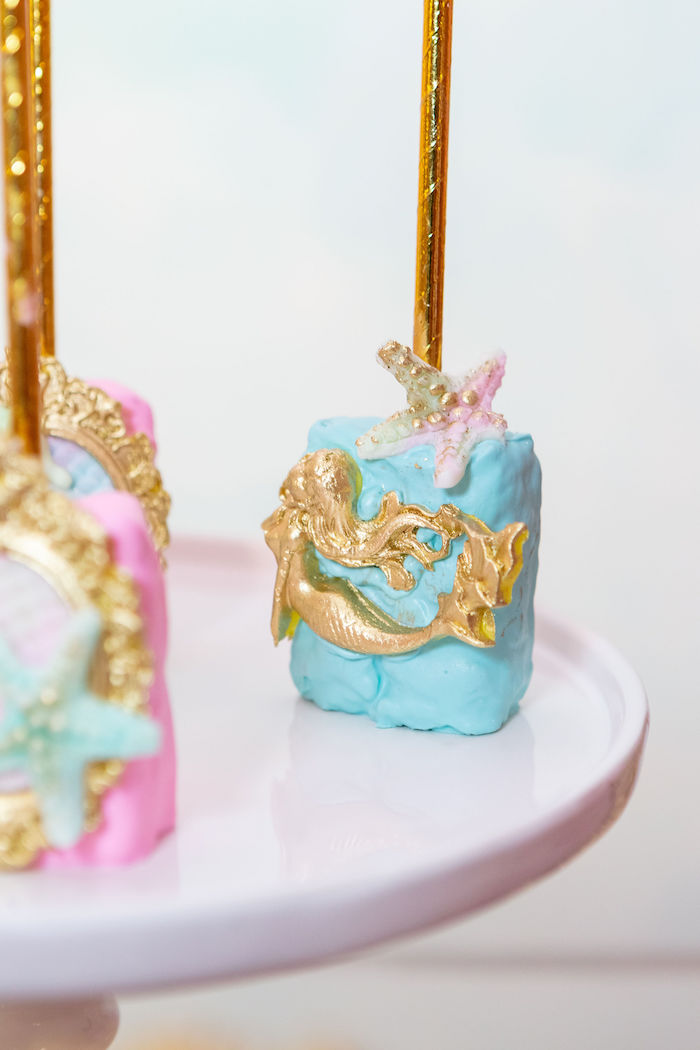 Mermaid Rice Krispie Treat from a Glamorous Mermaid Birthday Party on Kara's Party Ideas | KarasPartyIdeas.com (12)