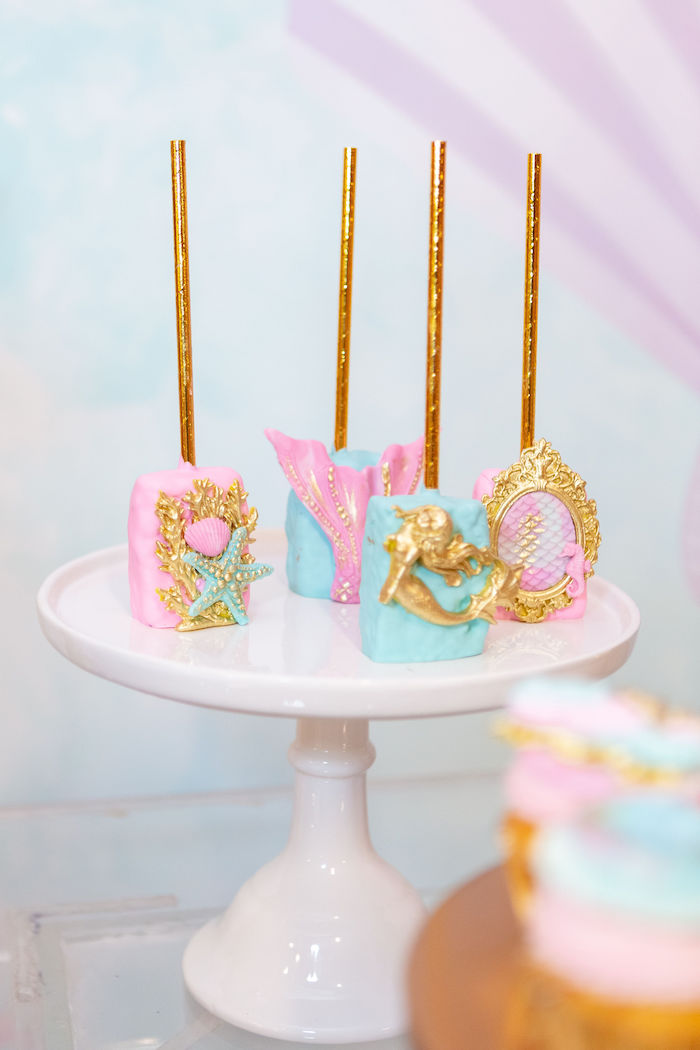 Under the Sea Rice Krispie Treats from a Glamorous Mermaid Birthday Party on Kara's Party Ideas | KarasPartyIdeas.com (11)