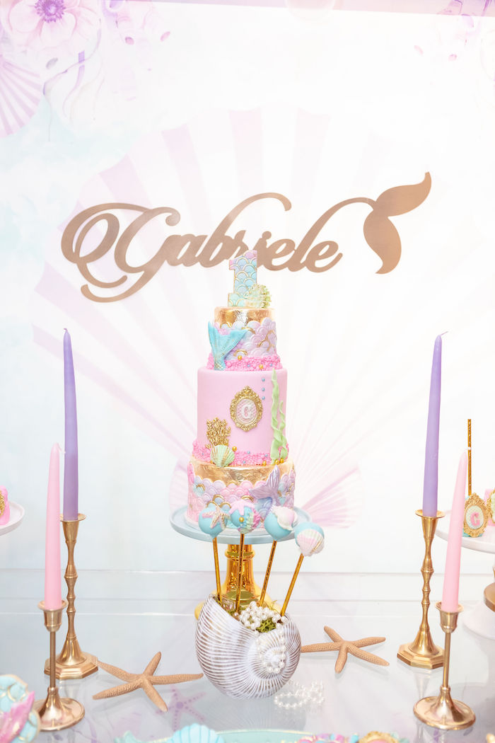 Mermaid Themed Birthday Cake from a Glamorous Mermaid Birthday Party on Kara's Party Ideas | KarasPartyIdeas.com (10)