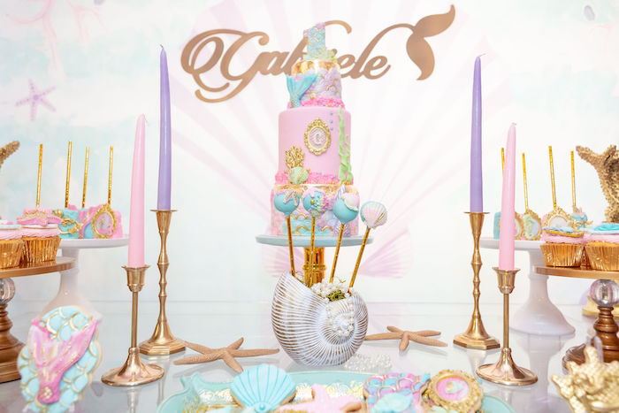 Mermaid Themed Cake Table from a Glamorous Mermaid Birthday Party on Kara's Party Ideas | KarasPartyIdeas.com (9)