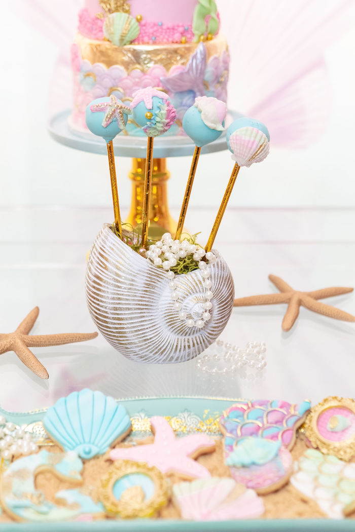 Shell Cake Pop Holder from a Glamorous Mermaid Birthday Party on Kara's Party Ideas | KarasPartyIdeas.com (7)