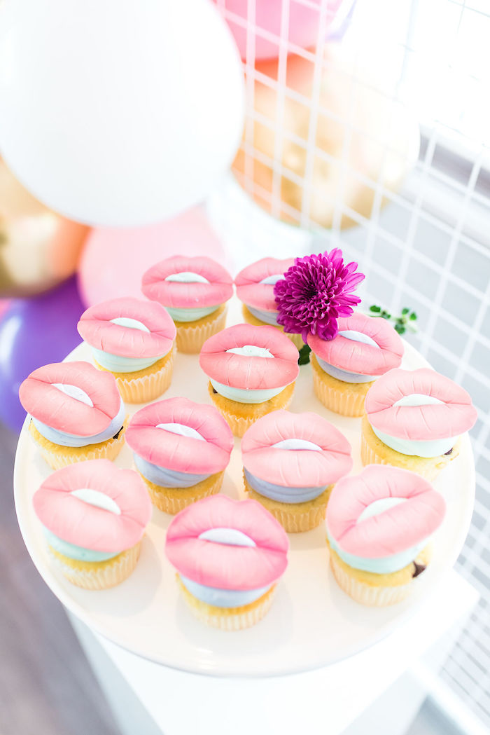 Lip-topped Cupcakes from a Kylie Jenner Inspired Fashion Birthday Party on Kara's Party Ideas | KarasPartyIdeas.com (39)