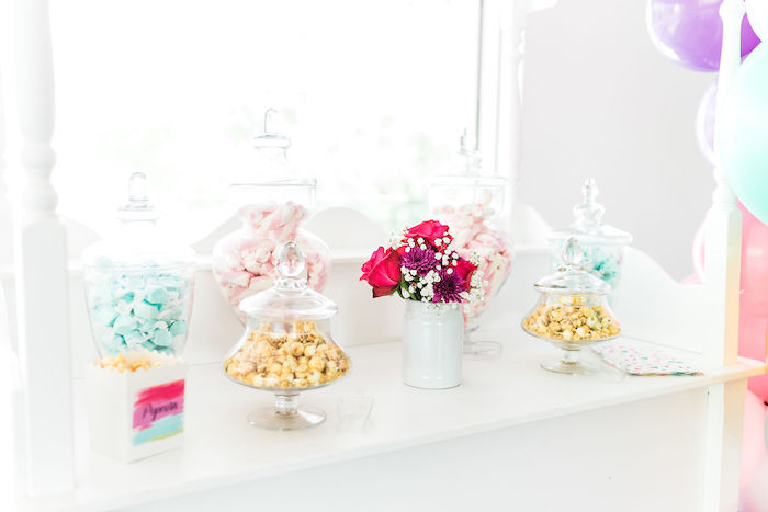 Popcorn + Candy Bar from a Kylie Jenner Inspired Fashion Birthday Party on Kara's Party Ideas | KarasPartyIdeas.com (34)