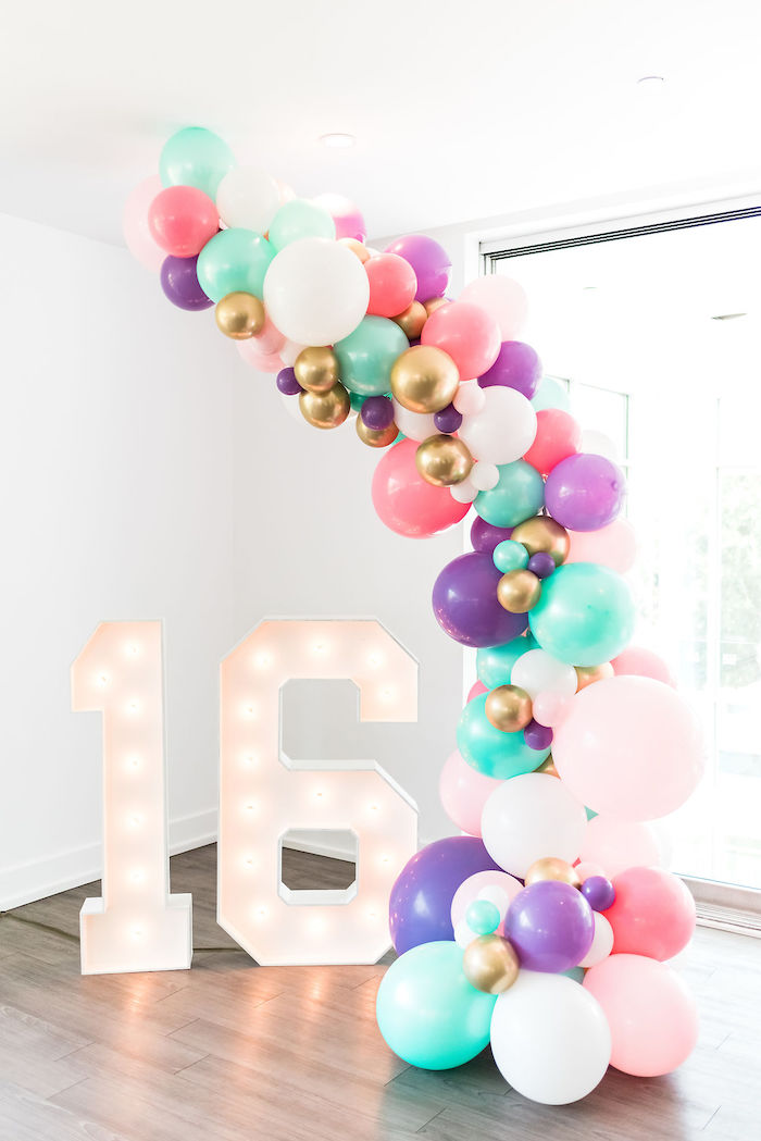 Marquee Light Balloon Installation from a Kylie Jenner Inspired Fashion Birthday Party on Kara's Party Ideas | KarasPartyIdeas.com (51)