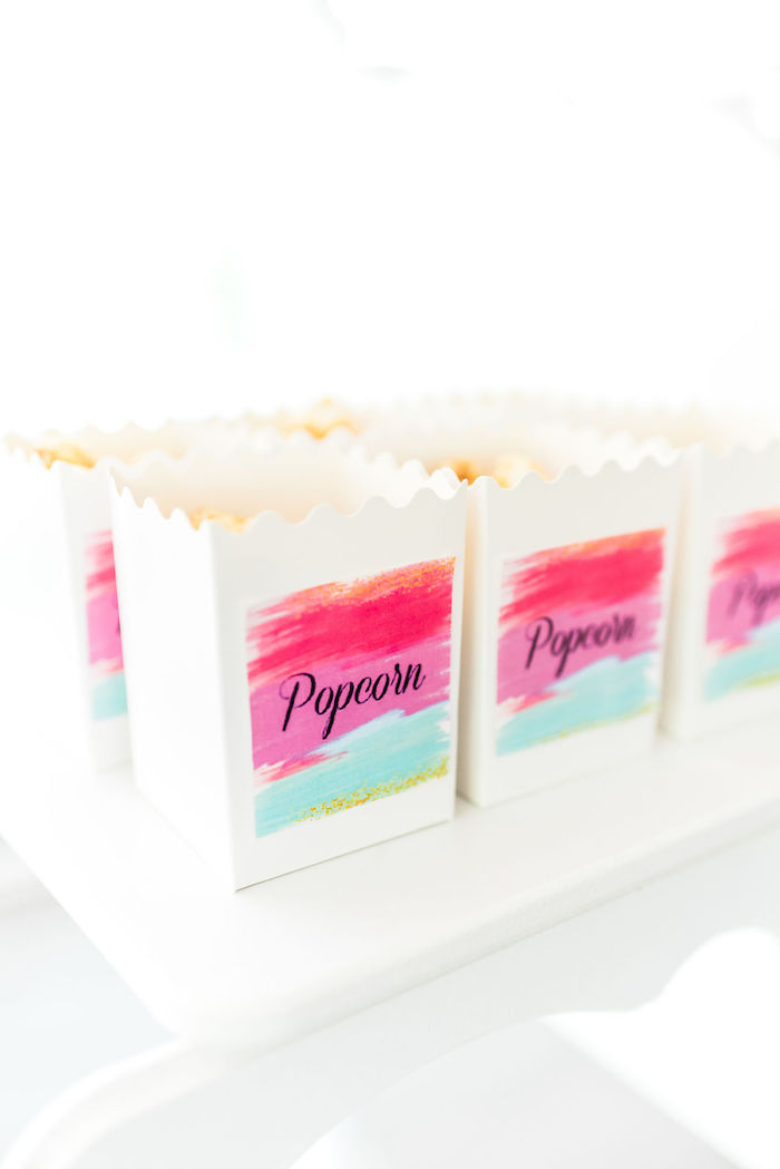 Watercolor-labeled Popcorn Boxes from a Kylie Jenner Inspired Fashion Birthday Party on Kara's Party Ideas | KarasPartyIdeas.com (32)