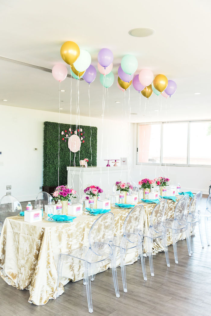 Guest Table from a Kylie Jenner Inspired Fashion Birthday Party on Kara's Party Ideas | KarasPartyIdeas.com (31)