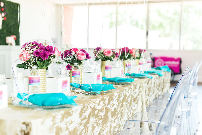 Guest Table + Table Settings from a Kylie Jenner Inspired Fashion Birthday Party on Kara's Party Ideas | KarasPartyIdeas.com (30)
