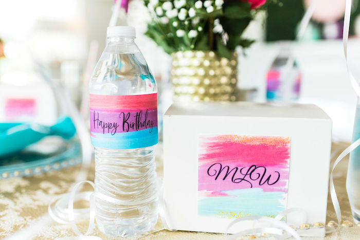 Watercolor Lunchbox + Water Bottle Labels from a Kylie Jenner Inspired Fashion Birthday Party on Kara's Party Ideas | KarasPartyIdeas.com (26)