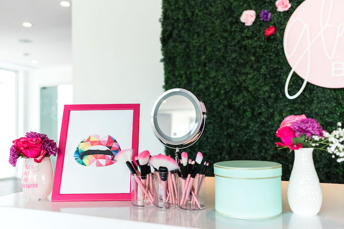 Glam Bar from a Kylie Jenner Inspired Fashion Birthday Party on Kara's Party Ideas | KarasPartyIdeas.com (24)