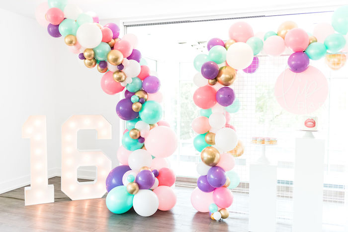 Marquee Light & Balloon Dessert Spread from a Kylie Jenner Inspired Fashion Birthday Party on Kara's Party Ideas | KarasPartyIdeas.com (50)