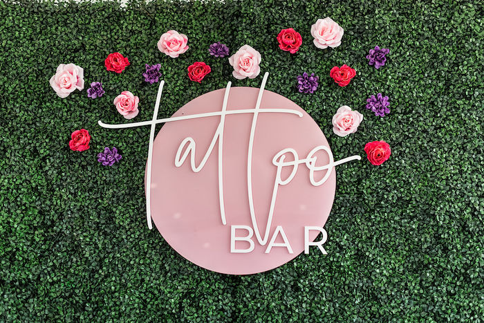 Acrylic + Flower Tattoo Bar Signage from a Kylie Jenner Inspired Fashion Birthday Party on Kara's Party Ideas | KarasPartyIdeas.com (20)