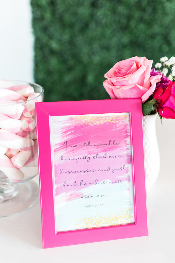 Hot Pink Watercolor Signage from a Kylie Jenner Inspired Fashion Birthday Party on Kara's Party Ideas | KarasPartyIdeas.com (17)