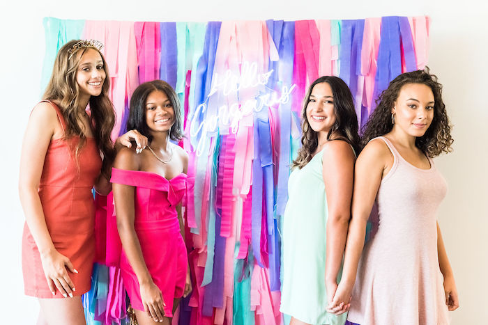 Hello Gorgeous Tassel Photo Booth from a Kylie Jenner Inspired Fashion Birthday Party on Kara's Party Ideas | KarasPartyIdeas.com (14)