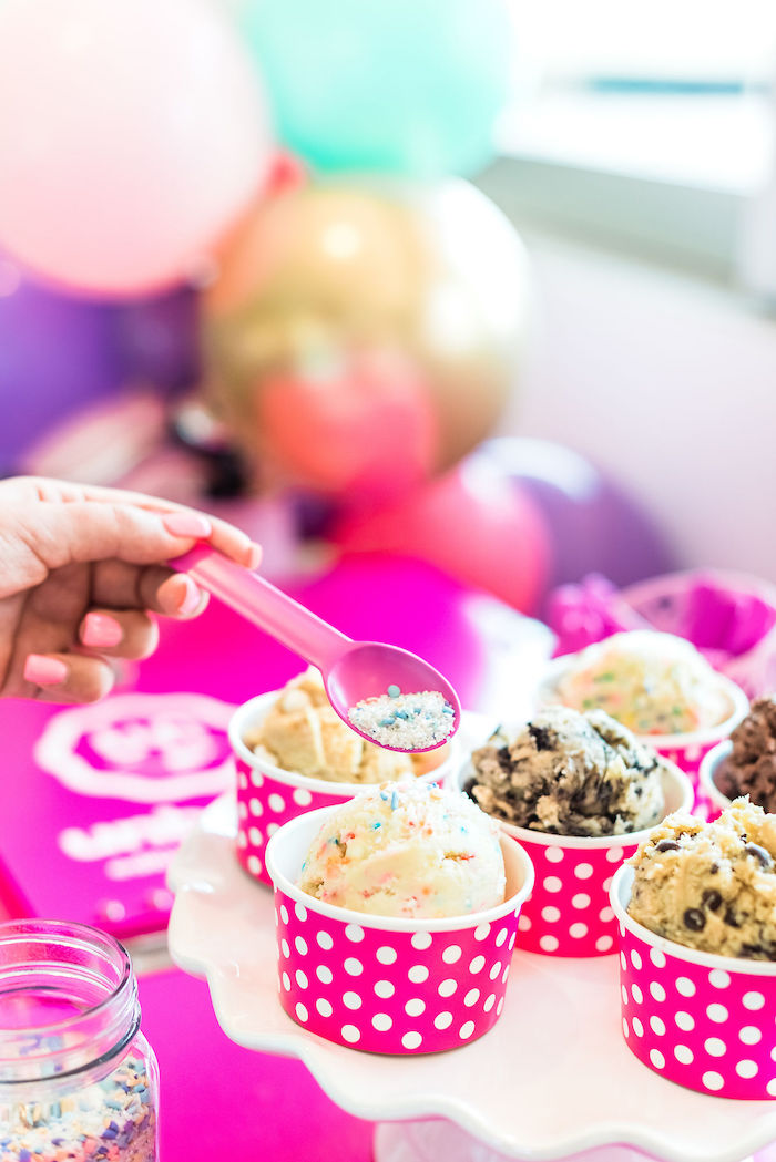 Edible Cookie Dough Cups from a Kylie Jenner Inspired Fashion Birthday Party on Kara's Party Ideas | KarasPartyIdeas.com (9)