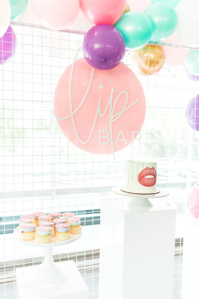 Lip Bar Dessert Spread from a Kylie Jenner Inspired Fashion Birthday Party on Kara's Party Ideas | KarasPartyIdeas.com (46)