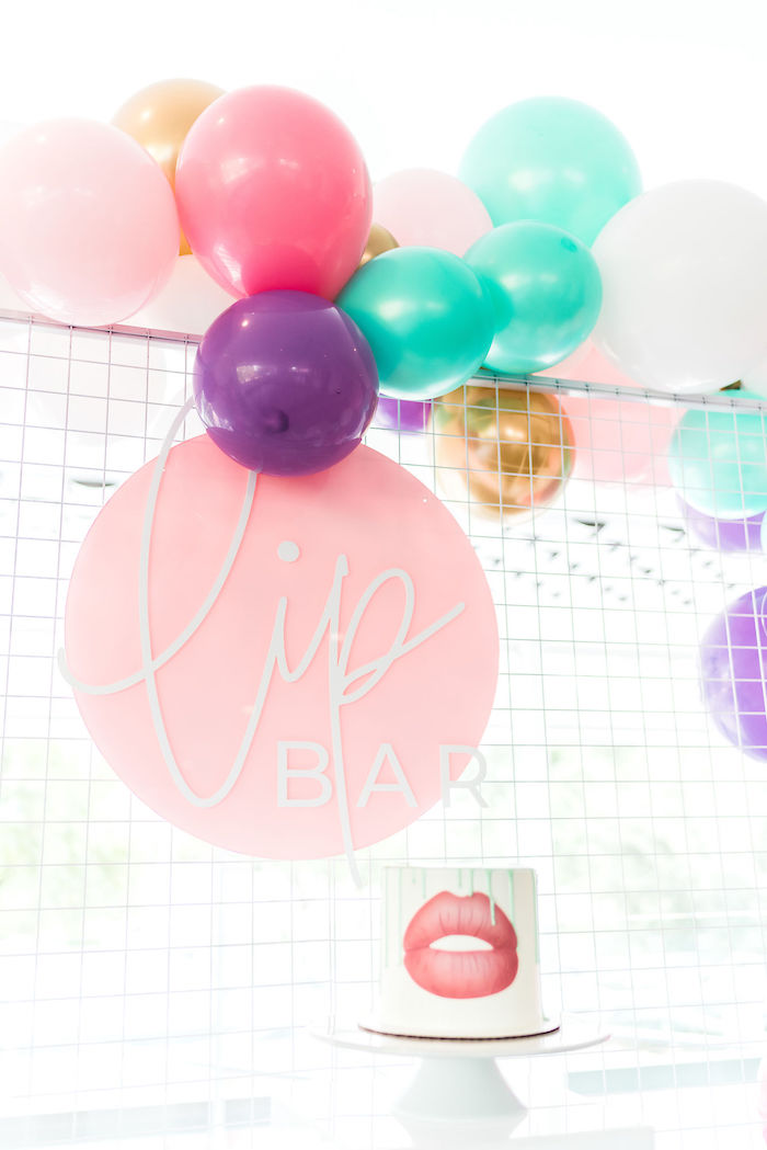 Lip Bar Cake Pedestal from a Kylie Jenner Inspired Fashion Birthday Party on Kara's Party Ideas | KarasPartyIdeas.com (45)