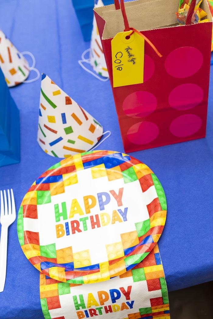 LEGO Themed Table Setting from a LEGO Star Wars Birthday Party on Kara's Party Ideas | KarasPartyIdeas.com (10)