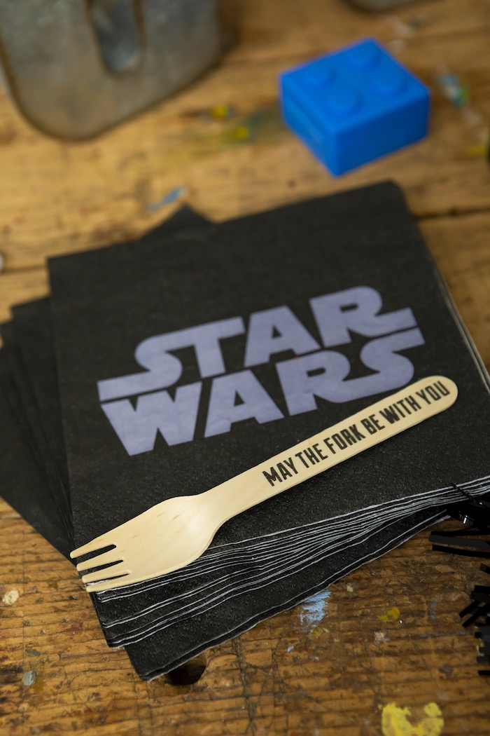 """""""May The Fork Be With You"""" Wooden Fork + Star Wars Napkins from a LEGO Star Wars Birthday Party on Kara's Party Ideas 
