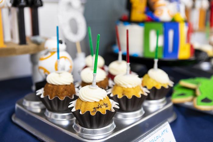 Lightsaber Cupcakes from a LEGO Star Wars Birthday Party on Kara's Party Ideas | KarasPartyIdeas.com (16)