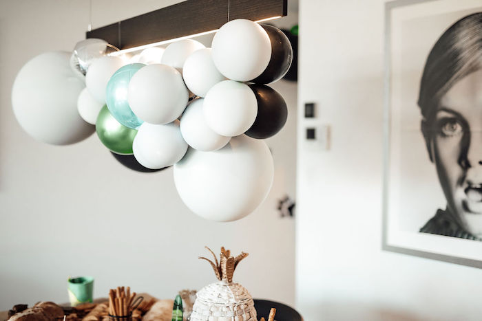 Balloon Installation from a Modern Minimal Wild & Three Birthday Party on Kara's Party Ideas | KarasPartyIdeas.com (21)