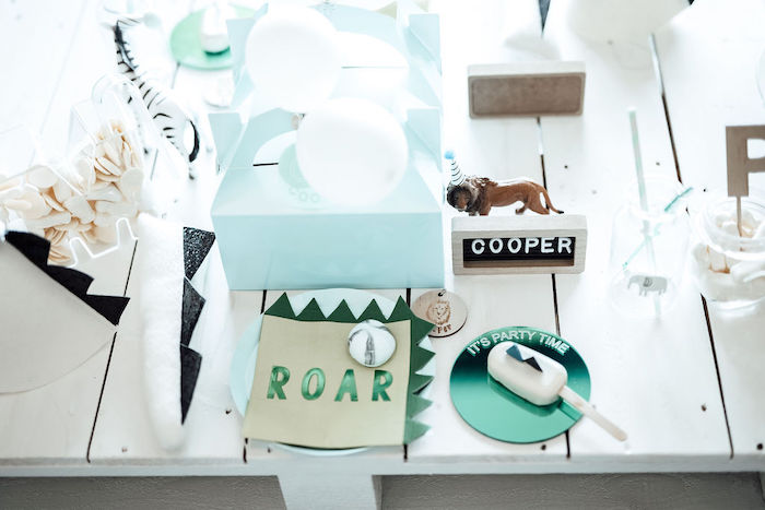 ROAR Table Setting from a Modern Minimal Wild & Three Birthday Party on Kara's Party Ideas | KarasPartyIdeas.com (14)