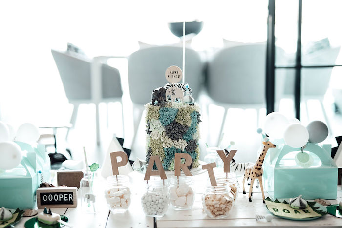 Wild Animal Party Table from a Modern Minimal Wild & Three Birthday Party on Kara's Party Ideas | KarasPartyIdeas.com (10)